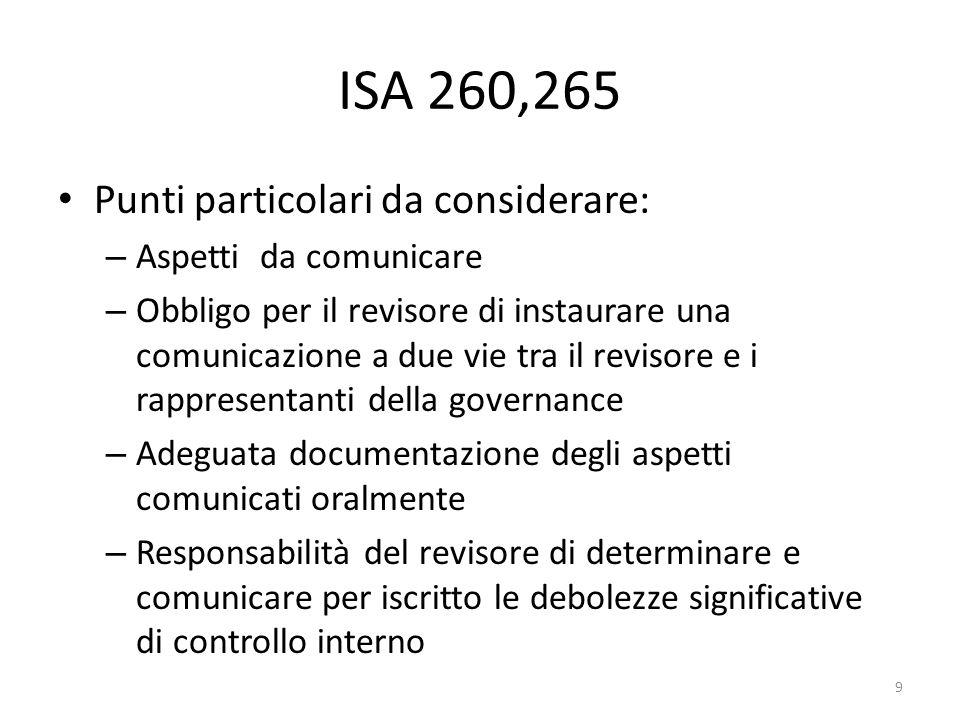 ISA 260,265 Punti particolari da considerare: – Aspetti da comunicare – Obbligo per il revisore di instaurare una comunicazione a due vie tra il revis