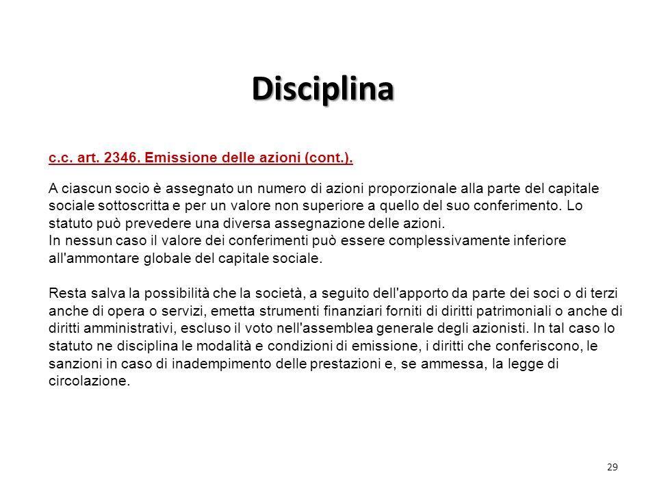 c.c. art. 2346. Emissione delle azioni (cont.).