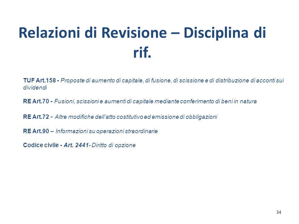 Relazioni di Revisione – Disciplina di rif.
