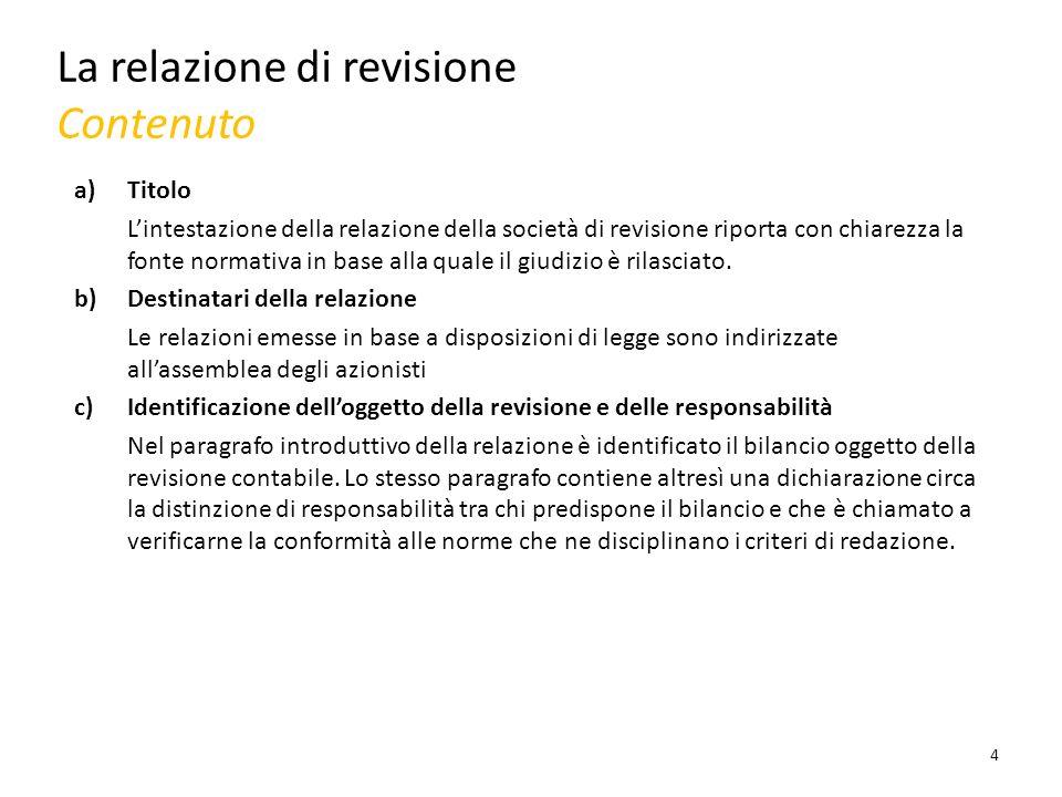 La relazione di revisione Contenuto a)Titolo Lintestazione della relazione della società di revisione riporta con chiarezza la fonte normativa in base alla quale il giudizio è rilasciato.