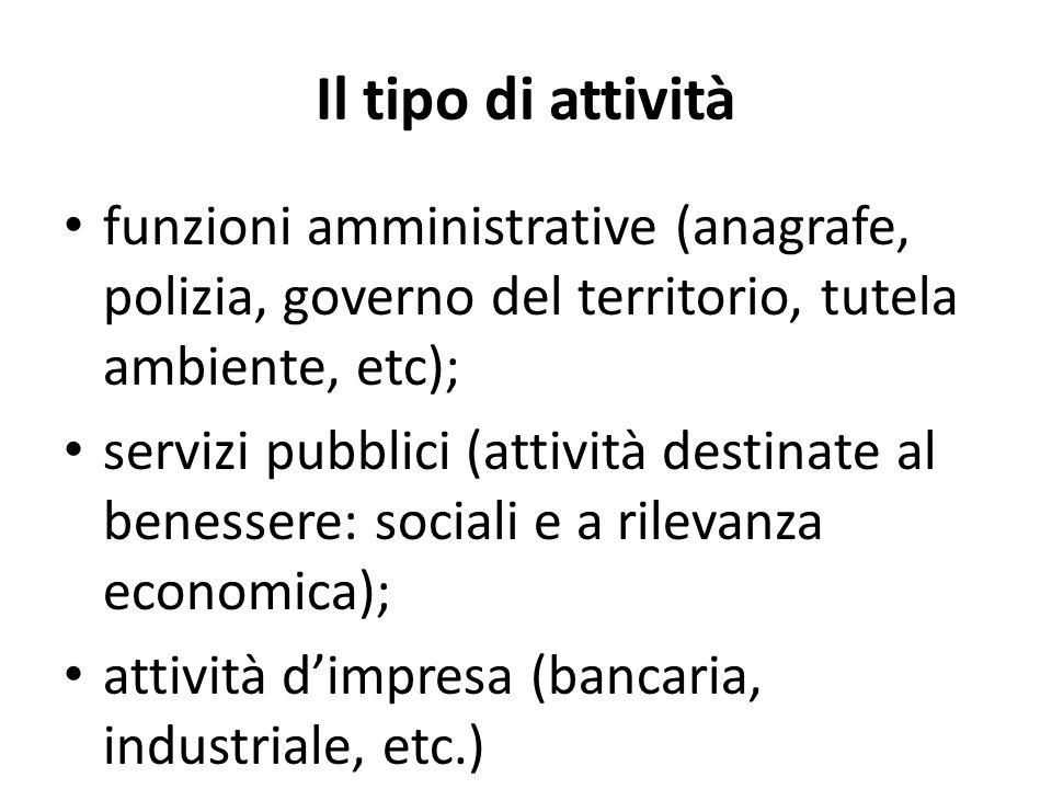 Il tipo di attività funzioni amministrative (anagrafe, polizia, governo del territorio, tutela ambiente, etc); servizi pubblici (attività destinate al