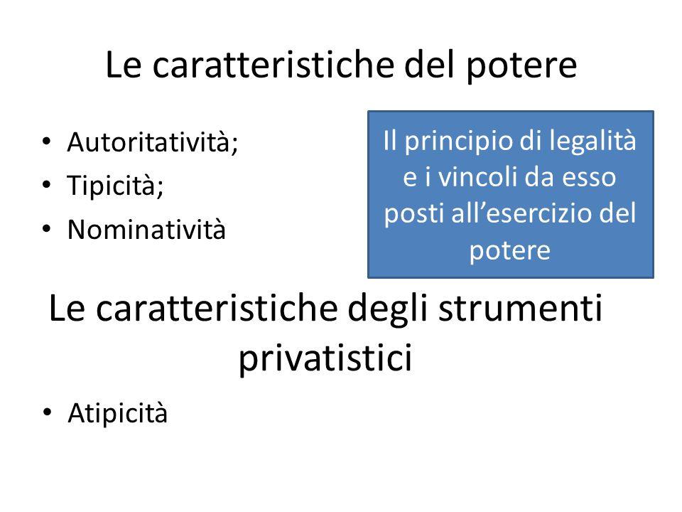 Le caratteristiche del potere Autoritatività; Tipicità; Nominatività Atipicità Le caratteristiche degli strumenti privatistici Il principio di legalit