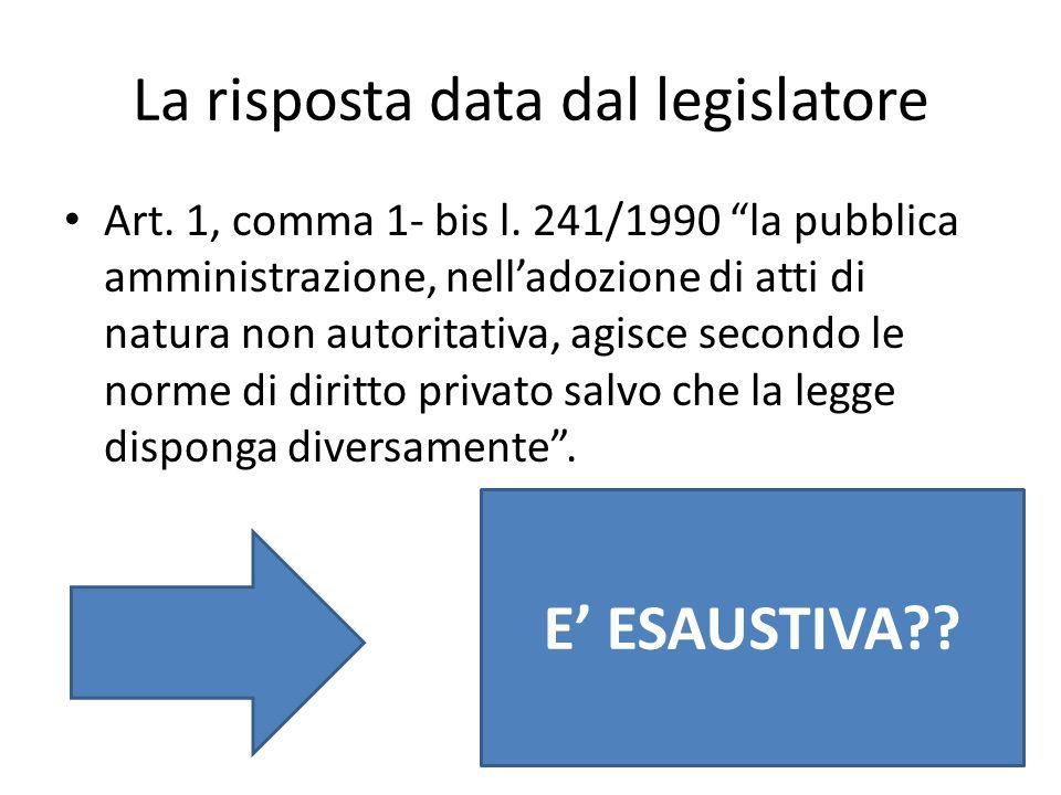 La risposta data dal legislatore Art. 1, comma 1- bis l. 241/1990 la pubblica amministrazione, nelladozione di atti di natura non autoritativa, agisce