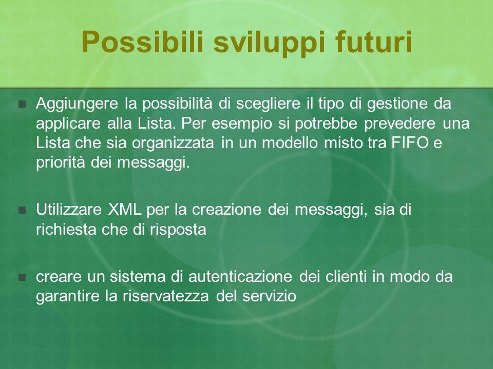 Possibili sviluppi futuri Aggiungere la possibilità di scegliere il tipo di gestione da applicare alla Lista.