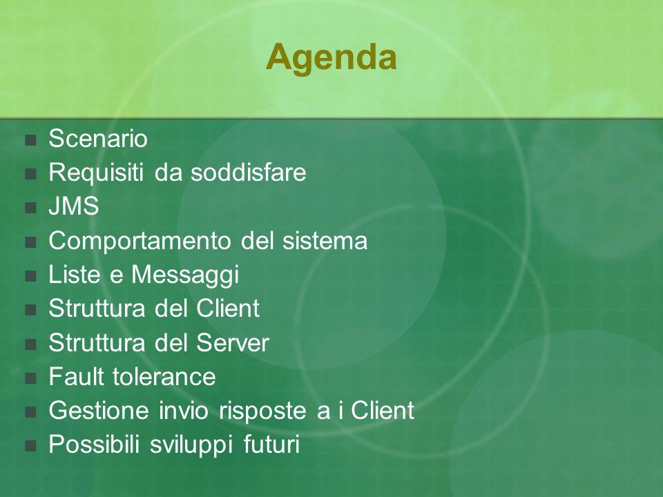 Agenda Scenario Requisiti da soddisfare JMS Comportamento del sistema Liste e Messaggi Struttura del Client Struttura del Server Fault tolerance Gestione invio risposte a i Client Possibili sviluppi futuri