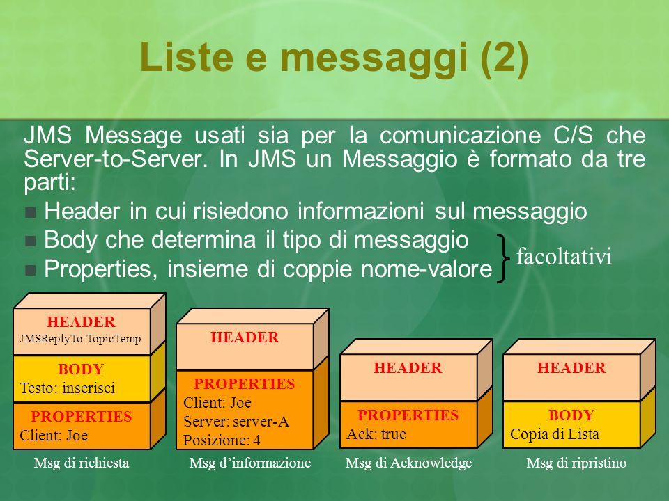 Liste e messaggi (2) JMS Message usati sia per la comunicazione C/S che Server-to-Server.