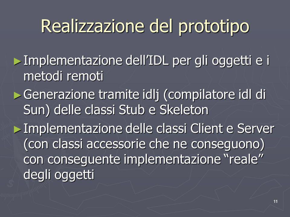 11 Realizzazione del prototipo Implementazione dellIDL per gli oggetti e i metodi remoti Implementazione dellIDL per gli oggetti e i metodi remoti Generazione tramite idlj (compilatore idl di Sun) delle classi Stub e Skeleton Generazione tramite idlj (compilatore idl di Sun) delle classi Stub e Skeleton Implementazione delle classi Client e Server (con classi accessorie che ne conseguono) con conseguente implementazione reale degli oggetti Implementazione delle classi Client e Server (con classi accessorie che ne conseguono) con conseguente implementazione reale degli oggetti