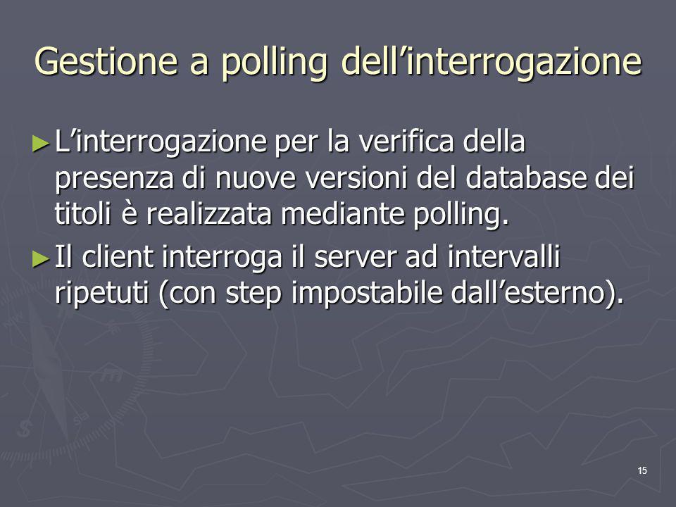 15 Gestione a polling dellinterrogazione Linterrogazione per la verifica della presenza di nuove versioni del database dei titoli è realizzata mediante polling.