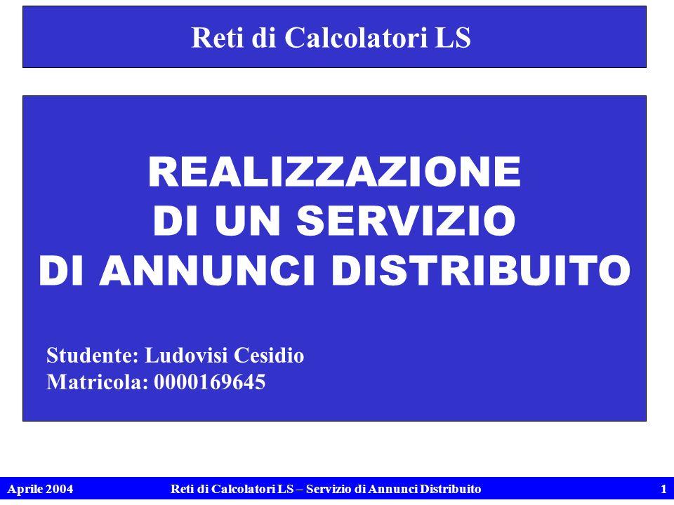 Aprile 2004Reti di Calcolatori LS – Servizio di Annunci Distribuito1 Reti di Calcolatori LS REALIZZAZIONE DI UN SERVIZIO DI ANNUNCI DISTRIBUITO Studente: Ludovisi Cesidio Matricola: 0000169645