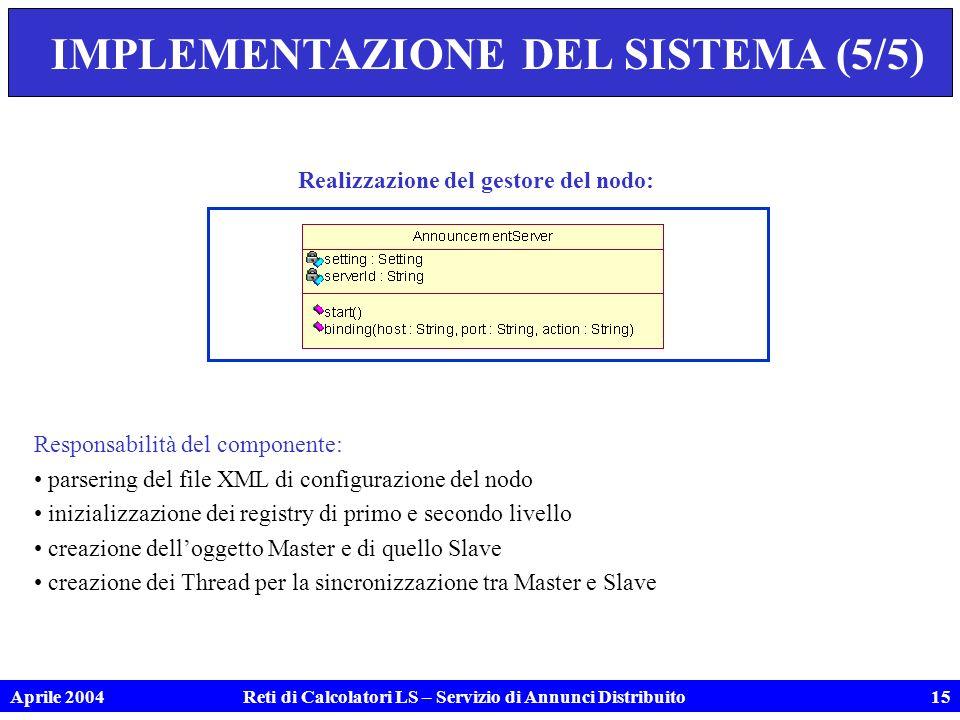 Aprile 2004Reti di Calcolatori LS – Servizio di Annunci Distribuito15 IMPLEMENTAZIONE DEL SISTEMA (5/5) Realizzazione del gestore del nodo: Responsabilità del componente: parsering del file XML di configurazione del nodo inizializzazione dei registry di primo e secondo livello creazione delloggetto Master e di quello Slave creazione dei Thread per la sincronizzazione tra Master e Slave