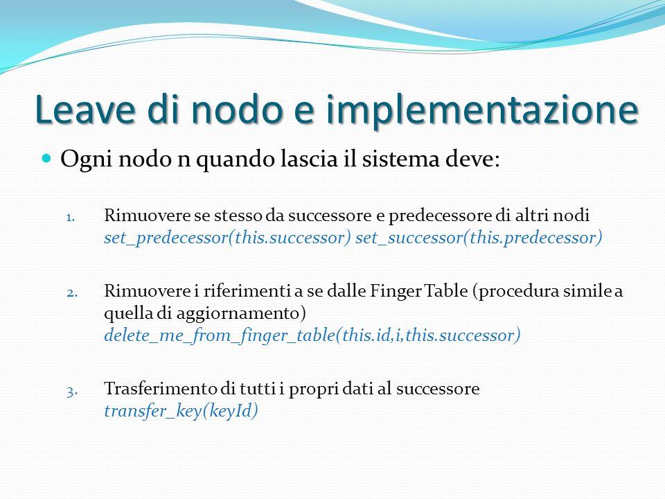 Leave di nodo e implementazione Ogni nodo n quando lascia il sistema deve: 1.