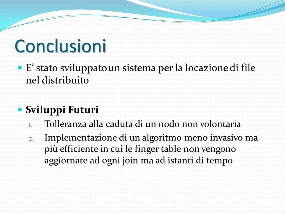 Conclusioni E stato sviluppato un sistema per la locazione di file nel distribuito Sviluppi Futuri 1.