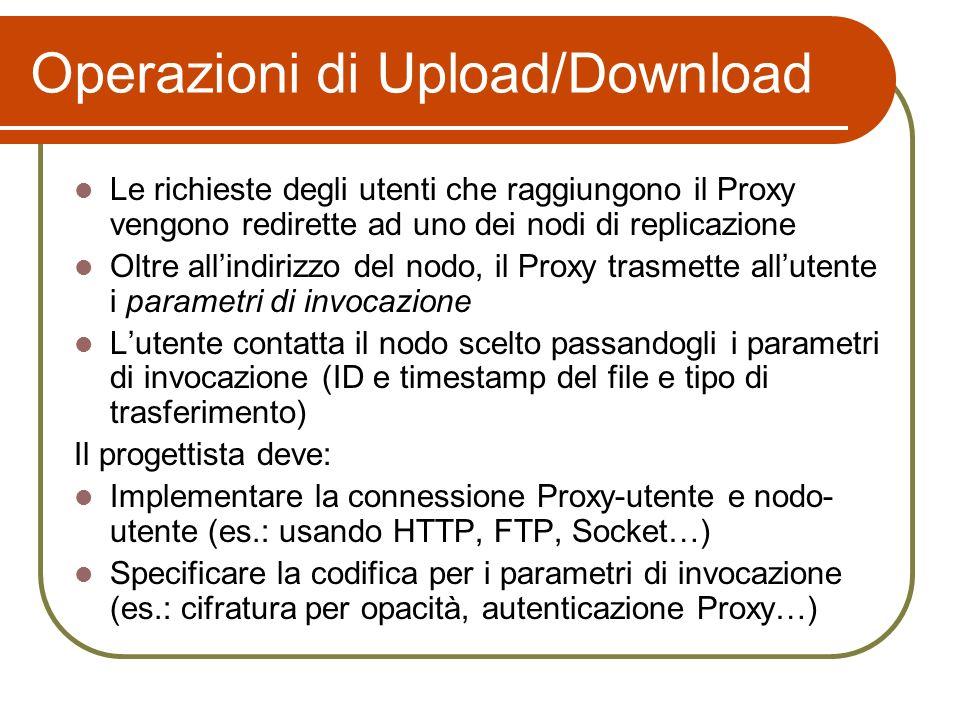 Operazioni di Upload/Download Le richieste degli utenti che raggiungono il Proxy vengono redirette ad uno dei nodi di replicazione Oltre allindirizzo