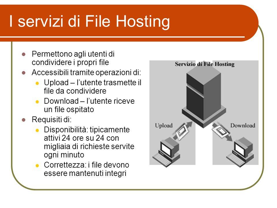 I servizi di File Hosting Permettono agli utenti di condividere i propri file Accessibili tramite operazioni di: Upload – lutente trasmette il file da