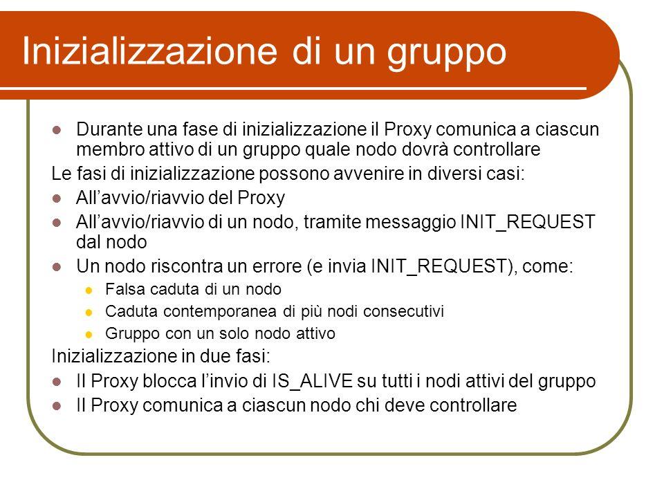 Inizializzazione di un gruppo Durante una fase di inizializzazione il Proxy comunica a ciascun membro attivo di un gruppo quale nodo dovrà controllare