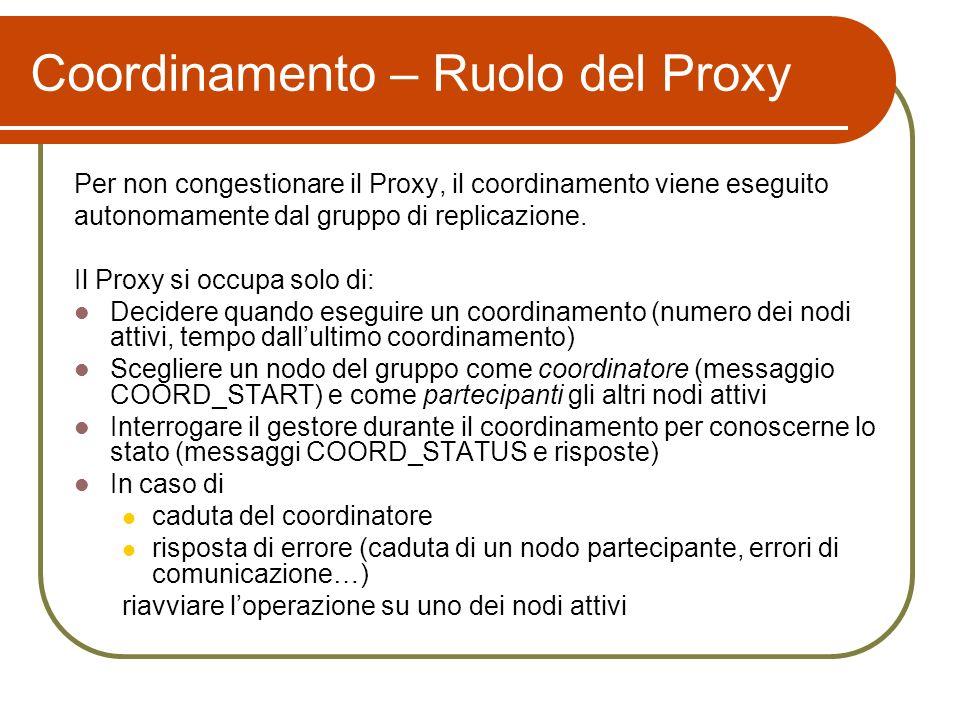 Coordinamento – Ruolo del Proxy Per non congestionare il Proxy, il coordinamento viene eseguito autonomamente dal gruppo di replicazione. Il Proxy si