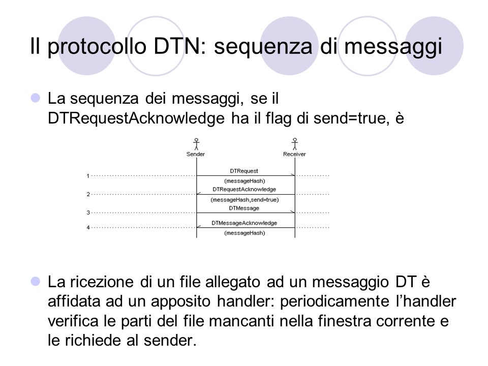 Il protocollo DTN: sequenza di messaggi La sequenza dei messaggi, se il DTRequestAcknowledge ha il flag di send=true, è La ricezione di un file allega