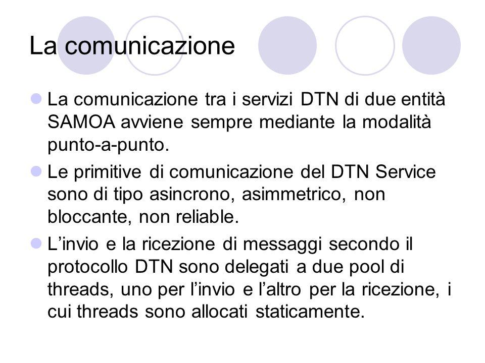 La comunicazione La comunicazione tra i servizi DTN di due entità SAMOA avviene sempre mediante la modalità punto-a-punto.