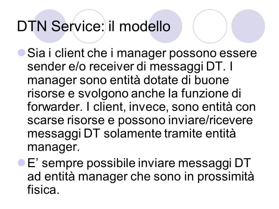 DTN Service: scambio di messaggi Quando un client entra in prossimità fisica con un manager gli invia tutti i messaggi DT che ha memorizzati in cache.
