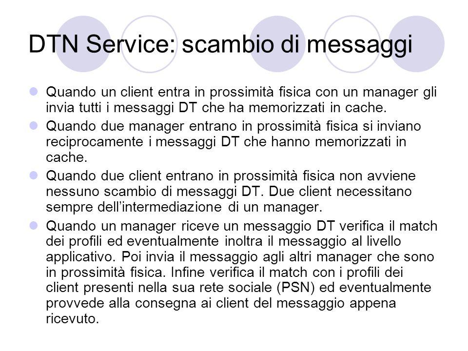 Il protocollo DTN Il protocollo per linvio di messaggi DT è composto dai seguenti sette tipi di messaggi: DTDiscoveryMessage DTRequest DTRequestAcknowledge DTMessage DTMessageAcknowledge DTPartOfFile DTPartsOfFileRequest