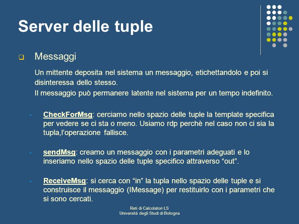 Reti di Calcolatori LS Universitá degli Studi di Bologna Server delle tuple Messaggi Un mittente deposita nel sistema un messaggio, etichettandolo e poi si disinteressa dello stesso.