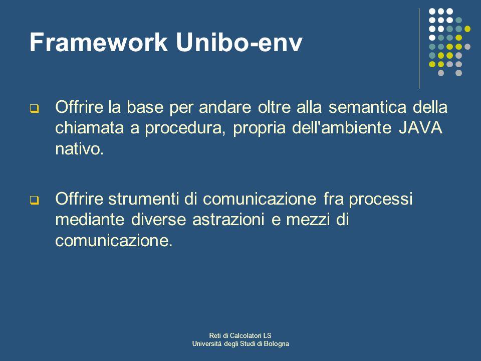 Reti di Calcolatori LS Universitá degli Studi di Bologna Framework Unibo-env Offrire la base per andare oltre alla semantica della chiamata a procedura, propria dell ambiente JAVA nativo.