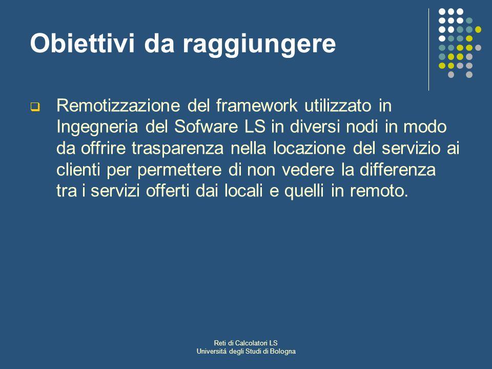 Reti di Calcolatori LS Universitá degli Studi di Bologna Obiettivi da raggiungere Remotizzazione del framework utilizzato in Ingegneria del Sofware LS