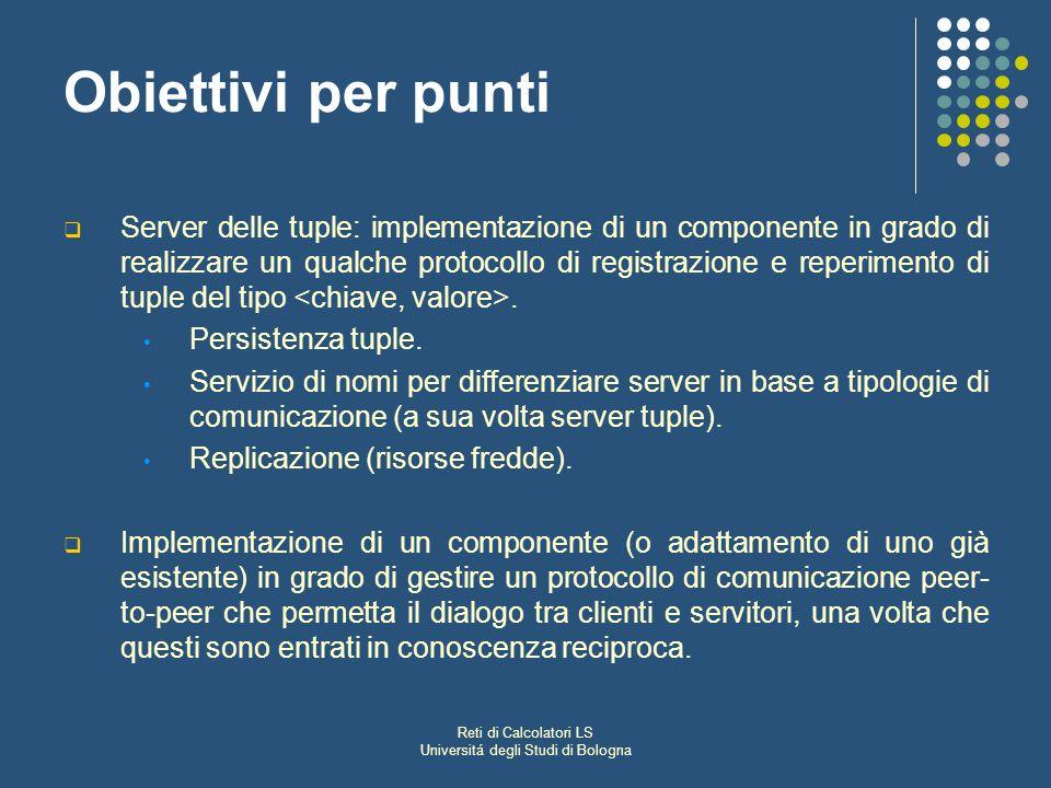Reti di Calcolatori LS Universitá degli Studi di Bologna Obiettivi per punti Server delle tuple: implementazione di un componente in grado di realizzare un qualche protocollo di registrazione e reperimento di tuple del tipo.