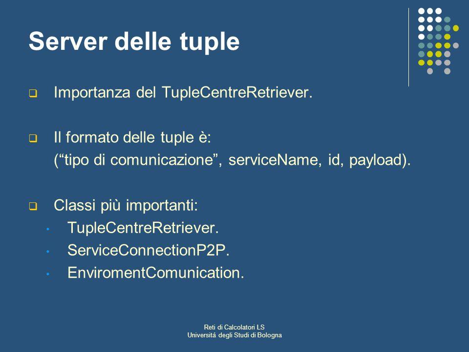 Reti di Calcolatori LS Universitá degli Studi di Bologna Server delle tuple Importanza del TupleCentreRetriever. Il formato delle tuple è: (tipo di co