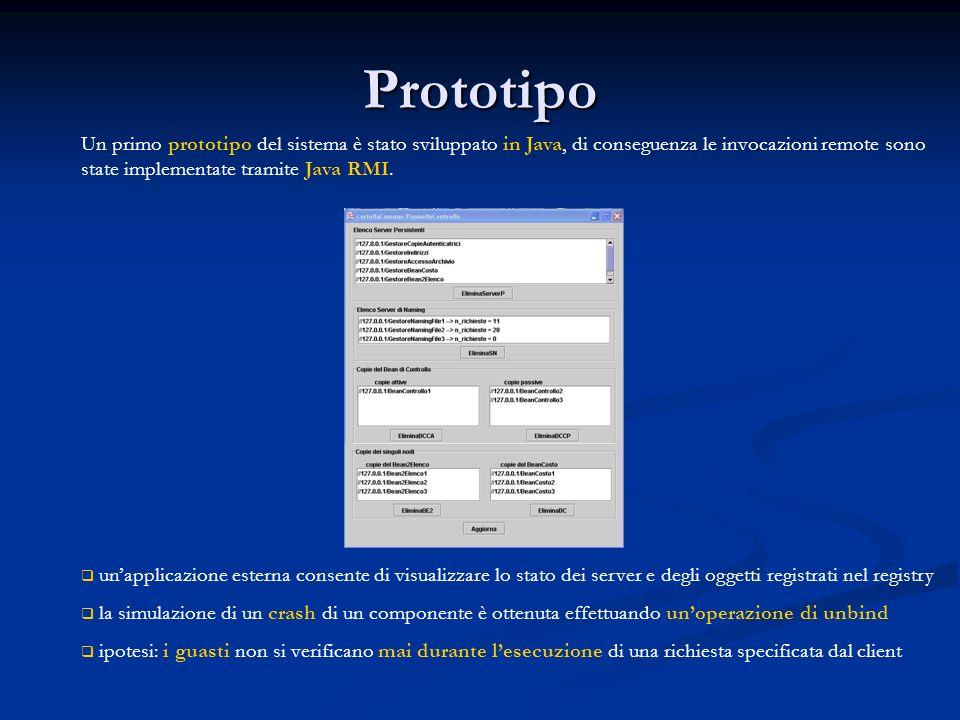 Prototipo Un primo prototipo del sistema è stato sviluppato in Java, di conseguenza le invocazioni remote sono state implementate tramite Java RMI.