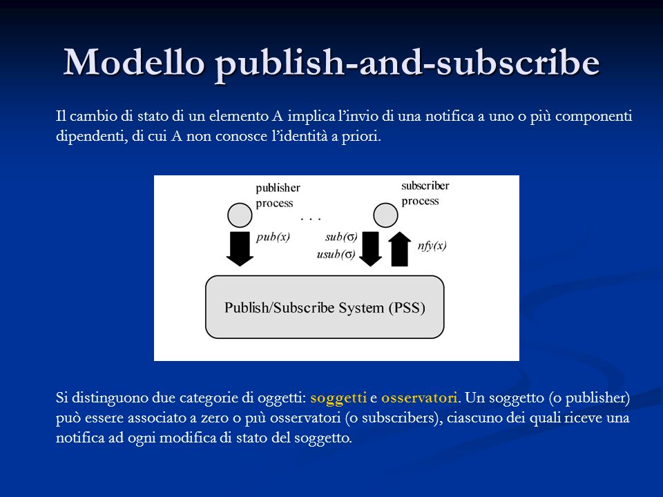Modello publish-and-subscribe Il cambio di stato di un elemento A implica linvio di una notifica a uno o più componenti dipendenti, di cui A non conosce lidentità a priori.