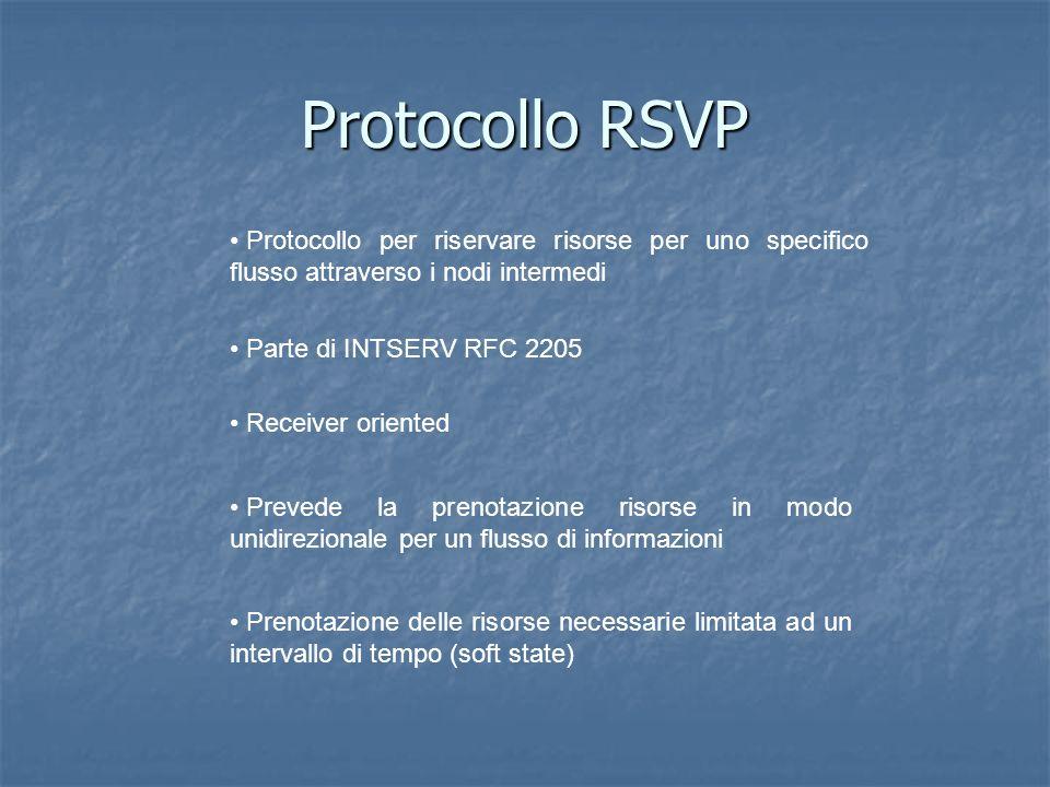 Protocollo RSVP Parte di INTSERV RFC 2205 Prevede la prenotazione risorse in modo unidirezionale per un flusso di informazioni Receiver oriented Prenotazione delle risorse necessarie limitata ad un intervallo di tempo (soft state) Protocollo per riservare risorse per uno specifico flusso attraverso i nodi intermedi