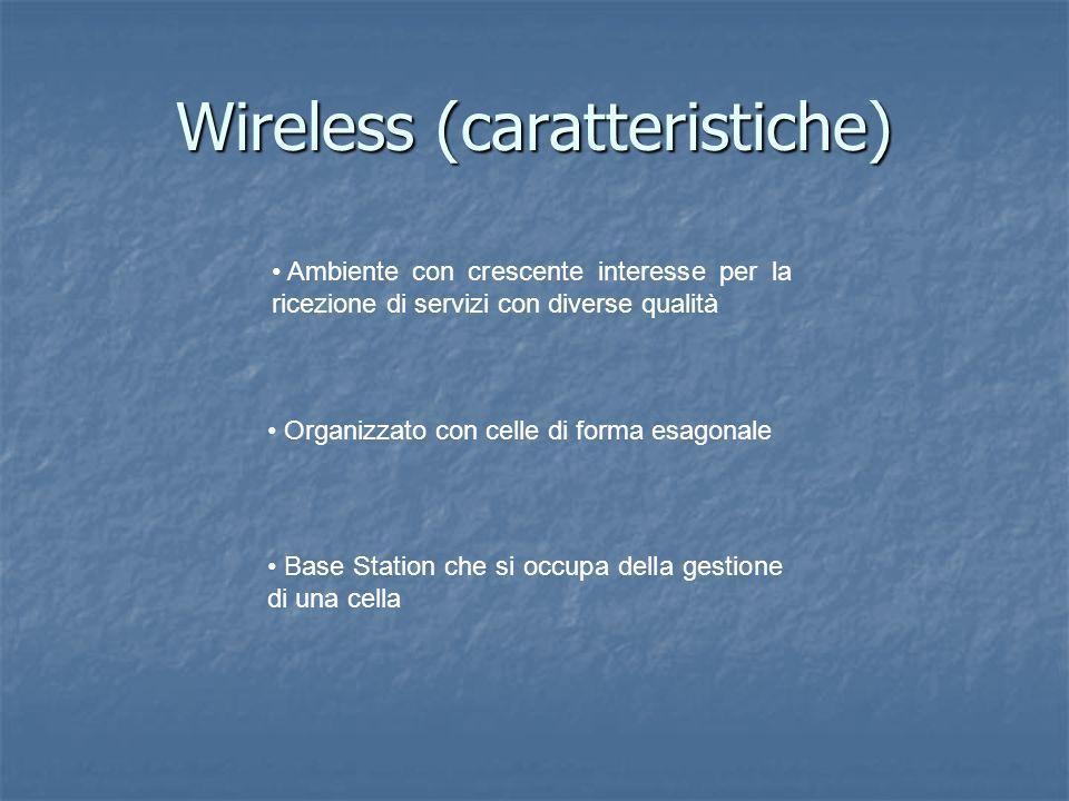 Wireless (caratteristiche) Ambiente con crescente interesse per la ricezione di servizi con diverse qualità Organizzato con celle di forma esagonale Base Station che si occupa della gestione di una cella