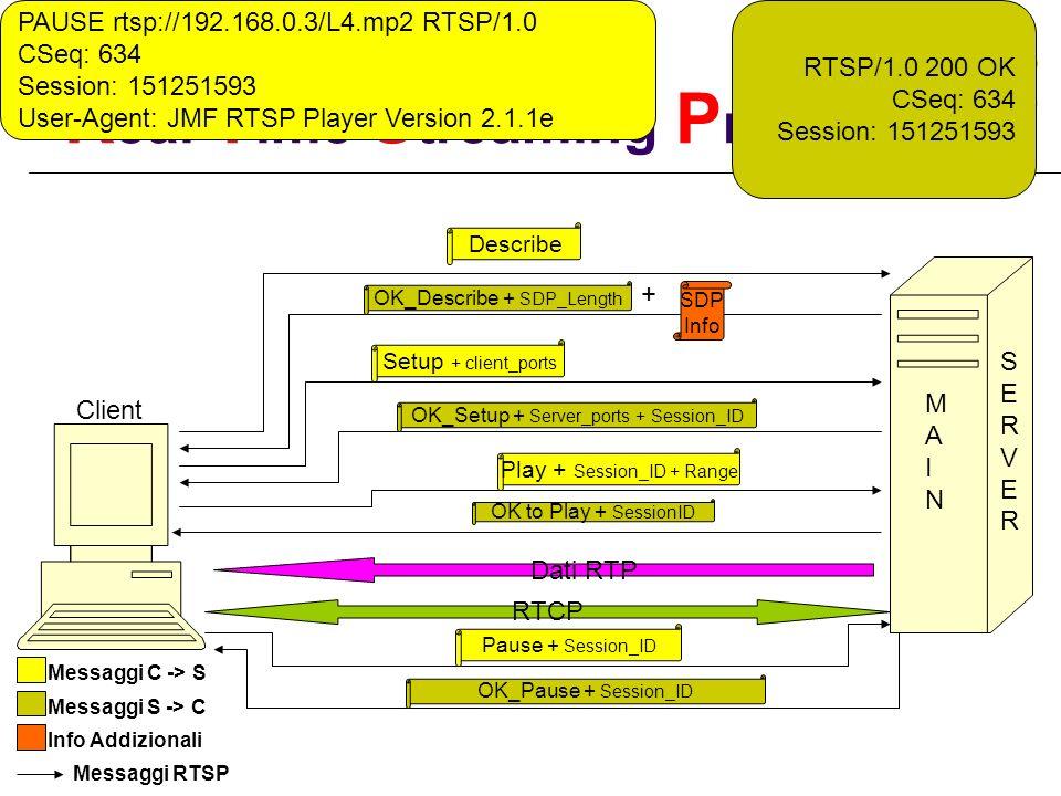 R eal T ime S treaming P rotocol Describe OK_Describe + SDP_Length + SDP Info Setup + client_ports Client Messaggi C -> S Messaggi S -> C Info Addizio