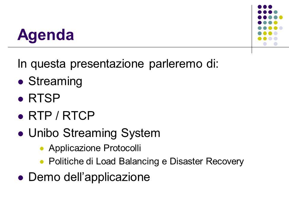 Agenda In questa presentazione parleremo di: Streaming RTSP RTP / RTCP Unibo Streaming System Applicazione Protocolli Politiche di Load Balancing e Disaster Recovery Demo dellapplicazione