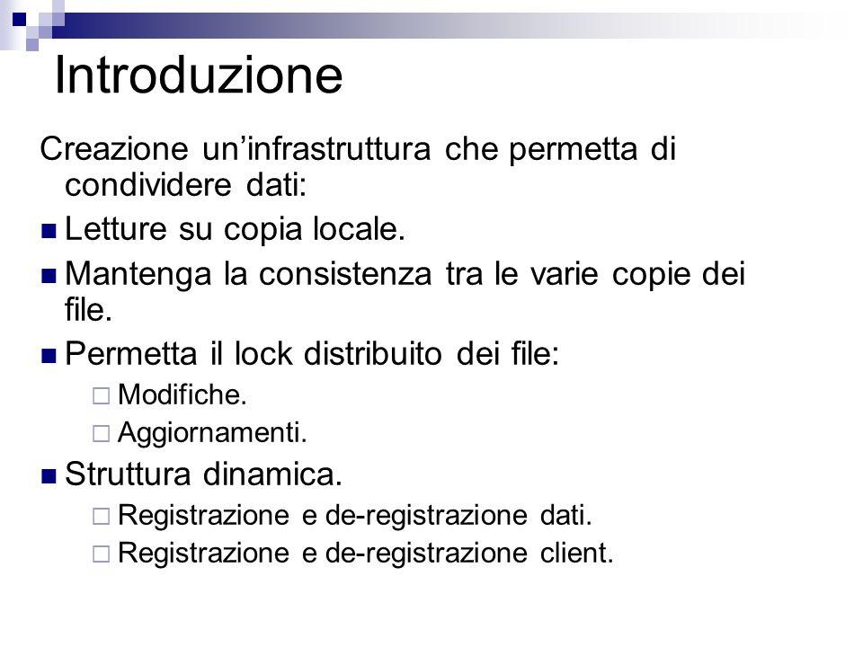 Introduzione Creazione uninfrastruttura che permetta di condividere dati: Letture su copia locale.