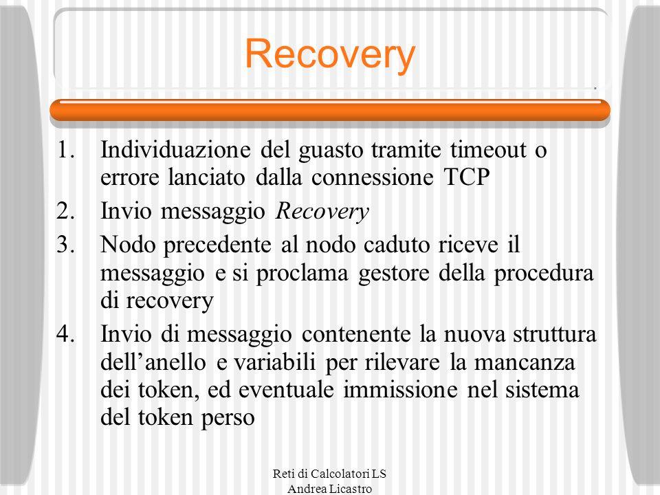 Reti di Calcolatori LS Andrea Licastro Recovery 1.Individuazione del guasto tramite timeout o errore lanciato dalla connessione TCP 2.Invio messaggio Recovery 3.Nodo precedente al nodo caduto riceve il messaggio e si proclama gestore della procedura di recovery 4.Invio di messaggio contenente la nuova struttura dellanello e variabili per rilevare la mancanza dei token, ed eventuale immissione nel sistema del token perso