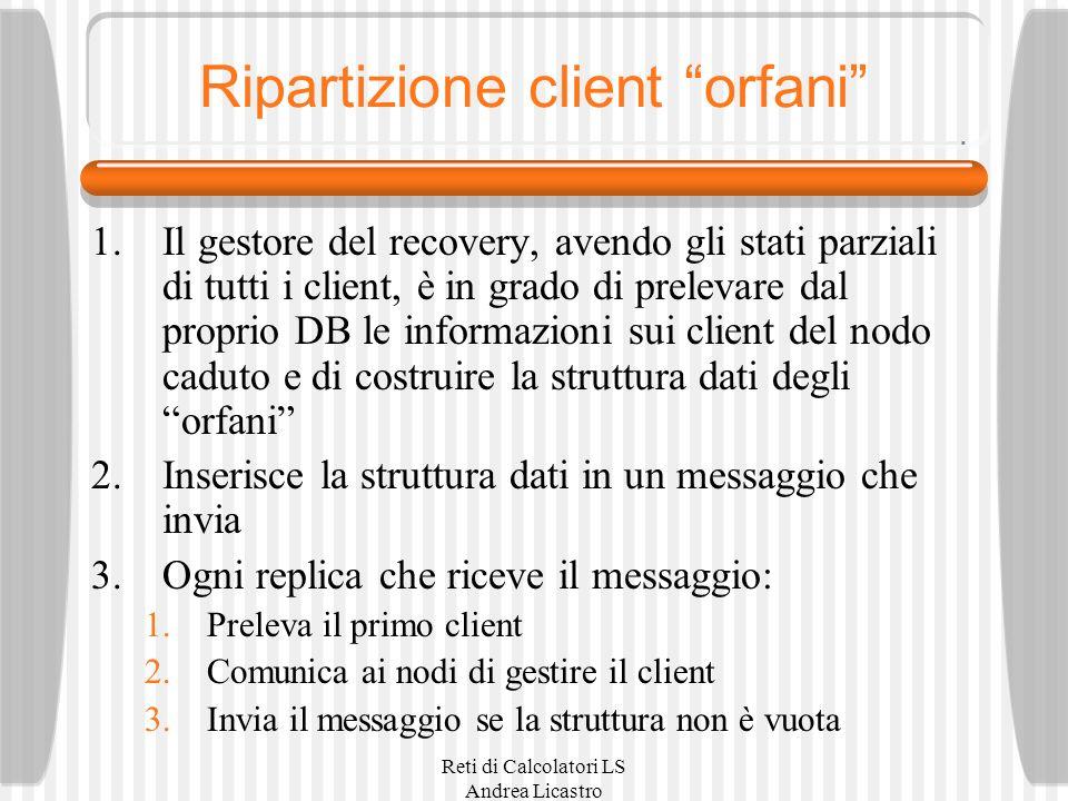 Reti di Calcolatori LS Andrea Licastro Ripartizione client orfani 1.Il gestore del recovery, avendo gli stati parziali di tutti i client, è in grado d