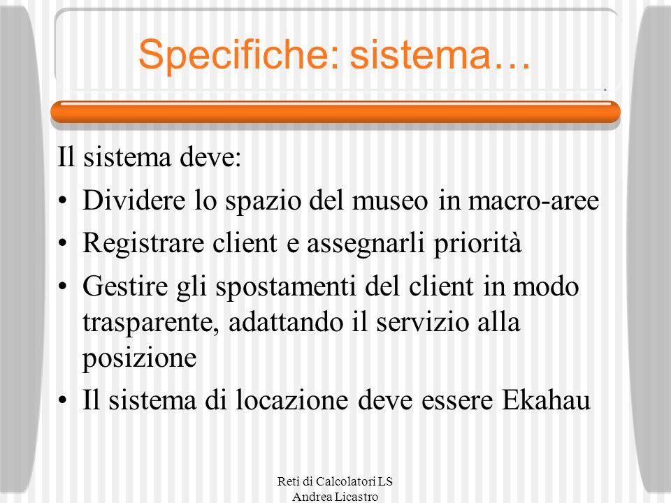 Reti di Calcolatori LS Andrea Licastro Specifiche: sistema… Il sistema deve: Dividere lo spazio del museo in macro-aree Registrare client e assegnarli priorità Gestire gli spostamenti del client in modo trasparente, adattando il servizio alla posizione Il sistema di locazione deve essere Ekahau