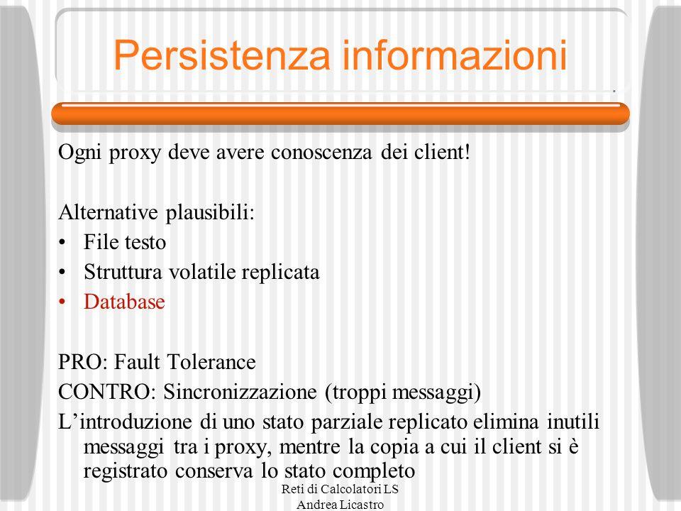 Reti di Calcolatori LS Andrea Licastro Persistenza informazioni Ogni proxy deve avere conoscenza dei client! Alternative plausibili: File testo Strutt
