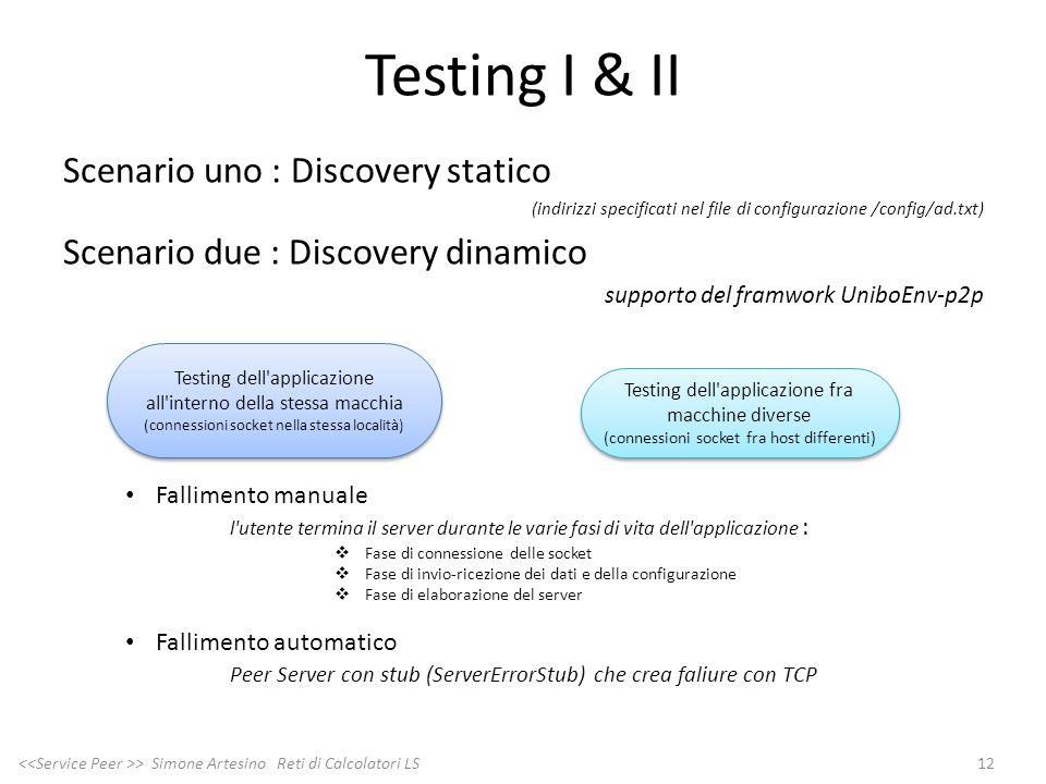 Testing I & II Scenario uno : Discovery statico (indirizzi specificati nel file di configurazione /config/ad.txt) Scenario due : Discovery dinamico su