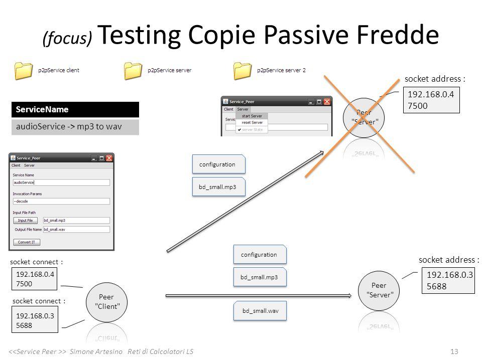 192.168.0.4 7500 (focus) Testing Copie Passive Fredde 13 > Simone Artesino Reti di Calcolatori LS 192.168.0.4 7500 192.168.0.3 5688 192.168.0.3 5688 b