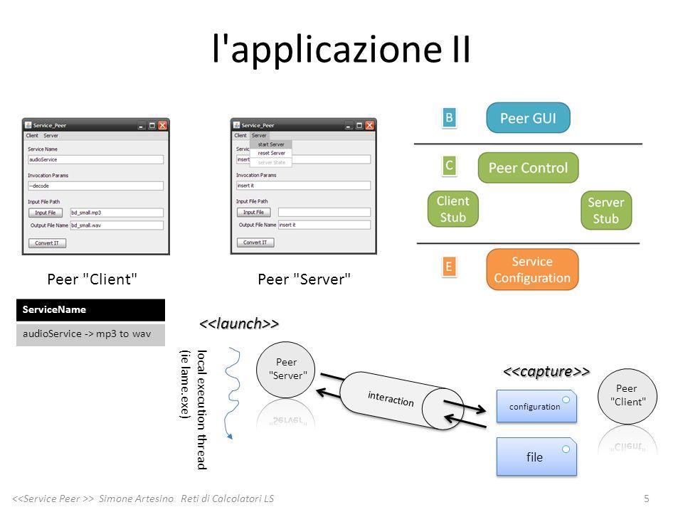 l'applicazione II 5 > Simone Artesino Reti di Calcolatori LS <<launch>> local execution thread(ie lame.exe) <<capture>> configuration file interaction