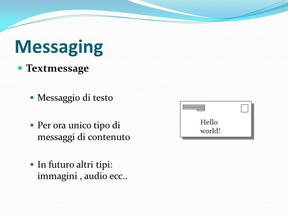 Messaging Textmessage Messaggio di testo Per ora unico tipo di messaggi di contenuto In futuro altri tipi: immagini, audio ecc..