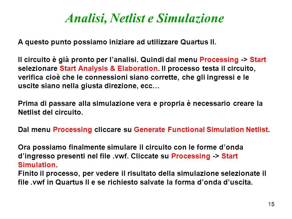 15 Analisi, Netlist e Simulazione A questo punto possiamo iniziare ad utilizzare Quartus II. Il circuito è già pronto per lanalisi. Quindi dal menu Pr