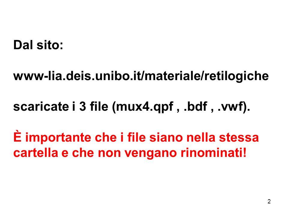 2 Dal sito: www-lia.deis.unibo.it/materiale/retilogiche scaricate i 3 file (mux4.qpf,.bdf,.vwf). È importante che i file siano nella stessa cartella e