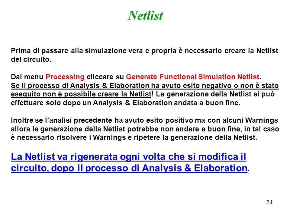 24 Prima di passare alla simulazione vera e propria è necessario creare la Netlist del circuito. Dal menu Processing cliccare su Generate Functional S