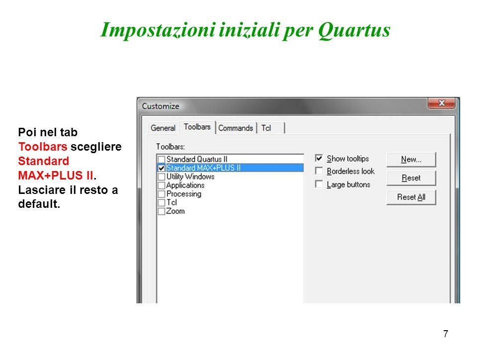 7 Poi nel tab Toolbars scegliere Standard MAX+PLUS II.