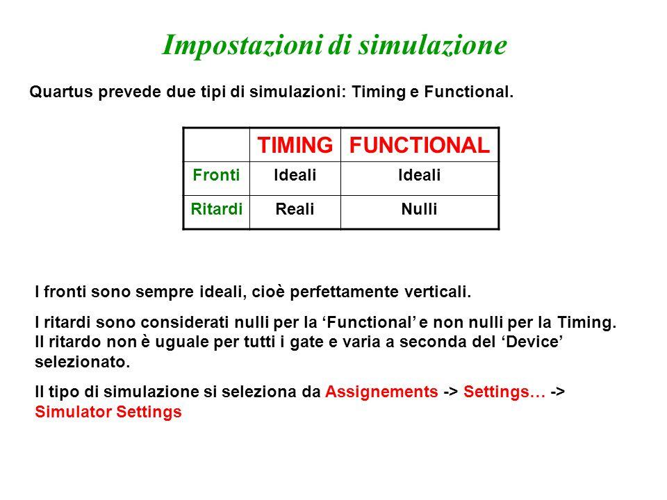 Impostazioni di simulazione Quartus prevede due tipi di simulazioni: Timing e Functional. TIMINGFUNCTIONAL FrontiIdeali RitardiRealiNulli I fronti son