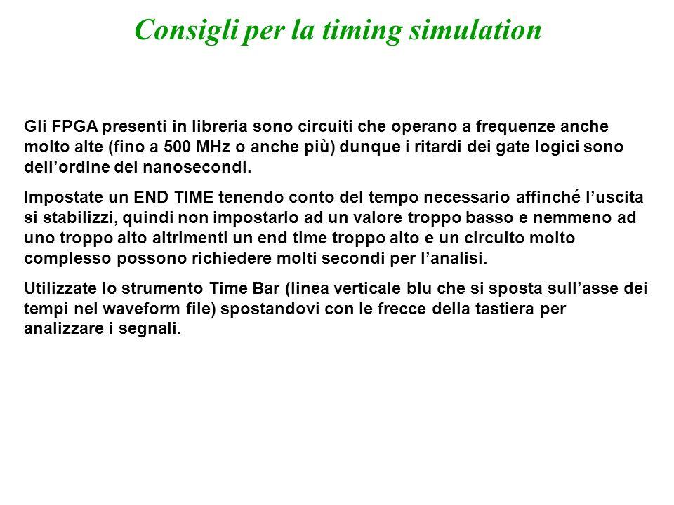 Alee statiche La Timing Simulation è indispensabile se si vogliono analizzare le alee di una rete logica.